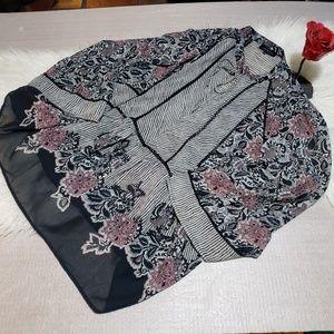 Lucky Brand Tops - Lucky Brand semi sheer blouse tie collar